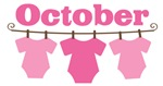 Cute October Pink Baby Clothes Announceme