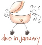 Pink Baby Buggy January Maternity Gifts Tshirts