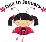 Cute January Maternity Ladybug Tees