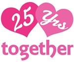 25th Anniversary Hearts Gift T-shirts