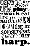 HARP Eat Sleep Work Play Music T-shirts
