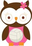 Volleyball Owl Kids Tee Shirts