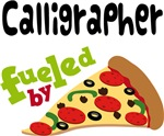 CALLIGRAPHER Funny Fueled By Pizza T-shirts