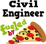 CIVIL ENGINEER Funny Fueled By Pizza T-shirts