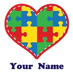 Personalized Autism Puzzle Heart Shirts and Gifts