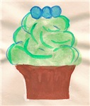 Green Cupcake Blueberries