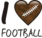 I Love Heart Football Fan T-shirts & Gifts