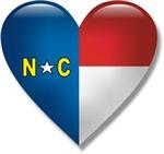 Love North Carolina Flag Heart T-shirts & Gifts