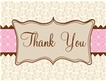 Elegant Pink and Cream Thank You Notes and Gifts