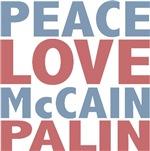 Peace Love McCain Palin T-shirts and Gifts