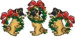 Pugs in Wreaths