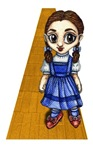 Dorothy from the Wizard of Oz movie stands on the Yellow Brick Road with her Ruby Red Shoes on.  This cute anime styled Dorothy is ready for you to wear as a tshirt or show off as a mug, magnet, poster or button.