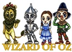 The Cowardly Lion, The Tin Woodsman (aka The Tinman), Dorothy Gale, and The Scarecrow all pose for a quick photo standing on top of the Wizard of Oz text.