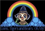 With all the colors of the rainbow, this Wonderful Wizard of Oz inspired design captures Scarecrow Lions, Tigers and Bears! Oh, My!.  The perfect gift for any Oz fan.