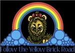 With all the colors of the rainbow, this Wonderful Wizard of Oz inspired design captures Lion Follow the Yellow Brick Road.  The perfect gift for any Oz fan.