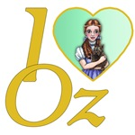 Dorothy and Toto look onwards with an emerald green heart with yellow brick lettering.  I heart Oz or I love oz is for the Wizard of Oz fan in all of us.