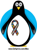 PENGUIN WITH AUTISM AWARENRESS RIBBON