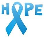 Light Blue Ribbon Hope T-shirt, Button, Sticker