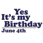 June 4th Birthday T-Shirts & Gifts