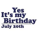 July 20th Birthday T-Shirts & Gifts