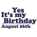 August 26th Birthday T-Shirts & Gifts