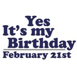 February 21st Birthday T-Shirts & Gifts