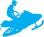 Light Blue Snowmobiler