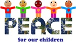 Peace for our children ~ Vibrant and colorful, happy and smiling children of the world hold hands and sit atop the word Peace.  This inspiring design can be found on a number of products to promote peace.