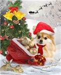Pomeranian Waiting For Santa