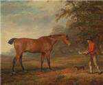 Vintage Painting of a Bay Horse