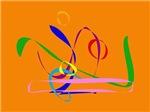 Colorful Lines against Orange Background