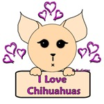 I Love Chihuahuas Cartoon (Pink)