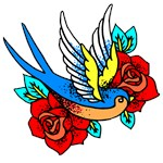 Bird With Red Roses Tattoo