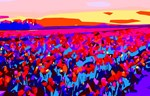 Tulip Fields Abstract Floral Landscape
