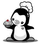 Cooking Penguin (b&w)