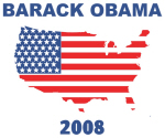 BARACK OBAMA 2008 (US Flag)