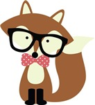 Bow Tie and Glasses Hipster Brown Fox