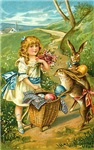 Victorian Girl and Easter Rabbit