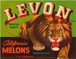 Levon Lion Melon Fruit Crate Label