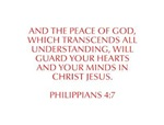 And the peace of God which transcends all understa
