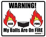 Pro Beer Pong Logo, my balls are on FIRE!