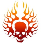 Flaming skull tattoo t-shirts & gifts
