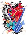 I Love Jazz Music Piano Sax Art