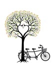 Heart tree with tandem bicycle