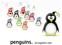 All tux penguins together