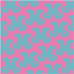 Pretty Pink and Blue Leafy Damask