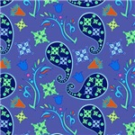 Blue and Green Paisley Pattern