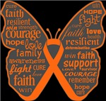 Leukemia Butterfly Collage of Words Shirts