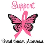 Support Breast Cancer Butterfly T-Shirts