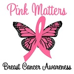 Pink Matter Breast Cancer Butterfly T-Shirts
